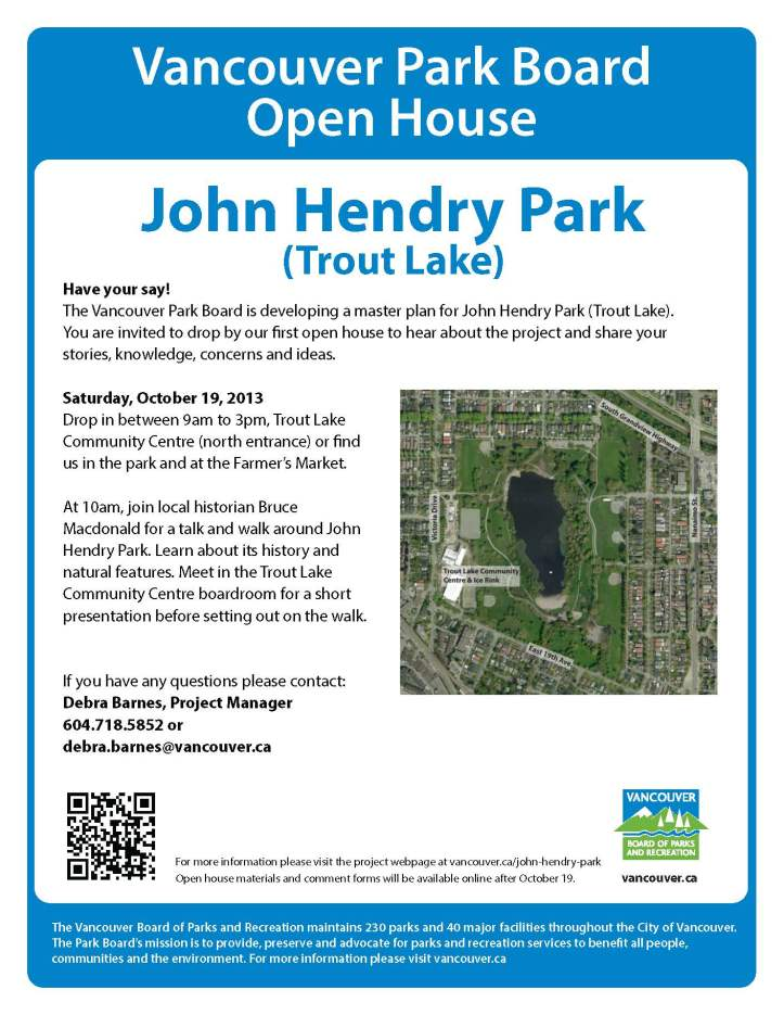 John Hendry Park (Trout Lake) - first open house flyer October 2013