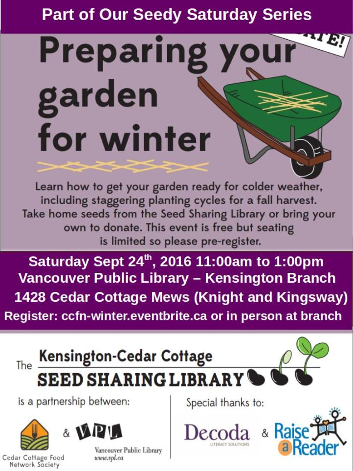 Seedy Saturday - Sept 24