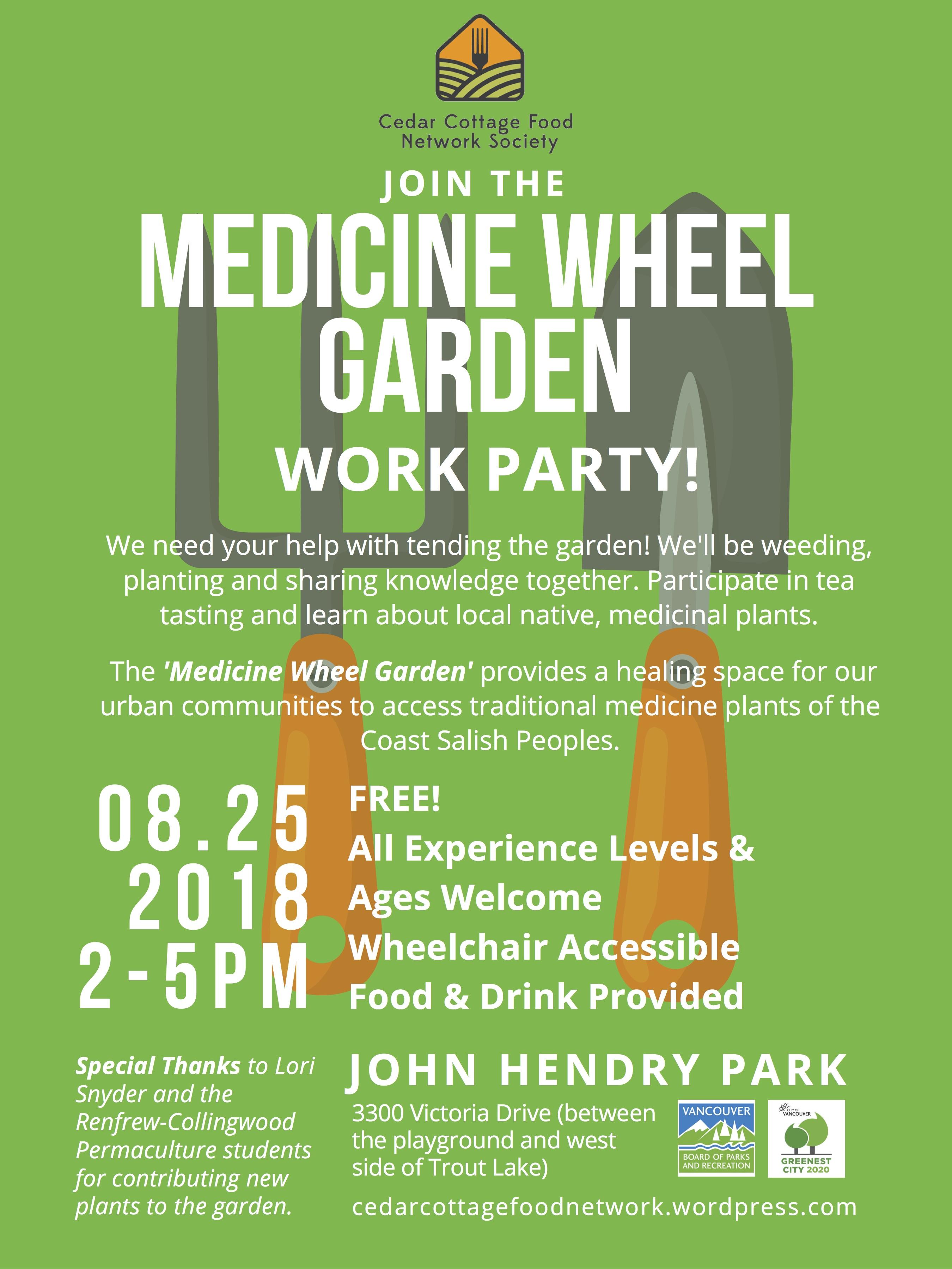 Aug 25th Medicine Wheel Garden Work Party Cedar Cottage Food Network Society